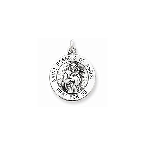 Sterling Silver Antiqued Saint Francis of Assisi Medal - shopvistar
