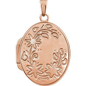 Rose Gold Plated Sterling Silver Oval Locket 24.30X18.40 Mm - shopvistar