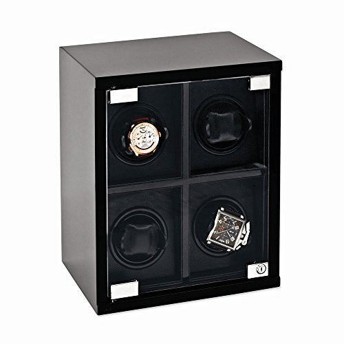 Rotations Carbon Fiber Glossy Finish Four Watch Winder - shopvistar