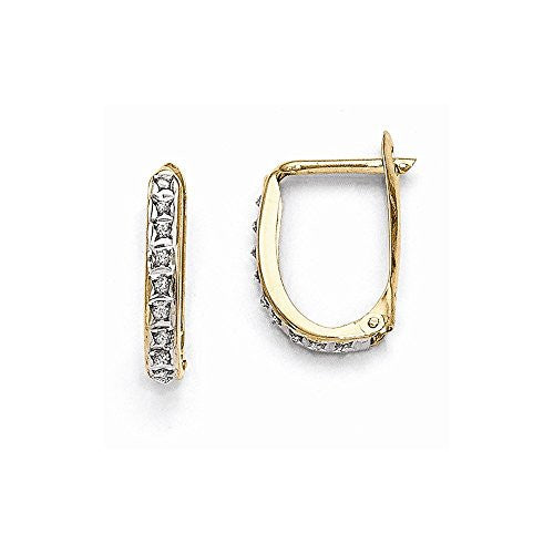 14k Diamond Fascination Leverback Hinged Hoop Earrings, Best Quality Free Gift Box Satisfaction Guaranteed - shopvistar