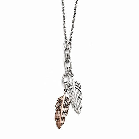 Stainless Steel Polished Chocolate IP-plated Feather Slip-on Necklace - shopvistar