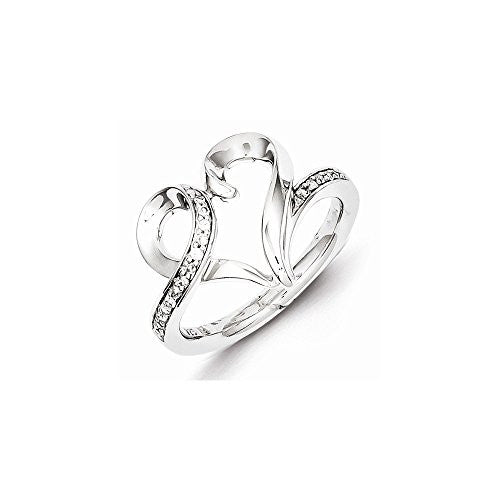 Sterling Silver Rhodium Plated Diamond Heart Ring, Best Quality Free Gift Box Satisfaction Guaranteed - shopvistar