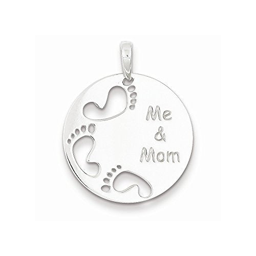 Sterling Silver Polished Me & Mom Pendant, Best Quality Free Gift Box Satisfaction Guaranteed - shopvistar