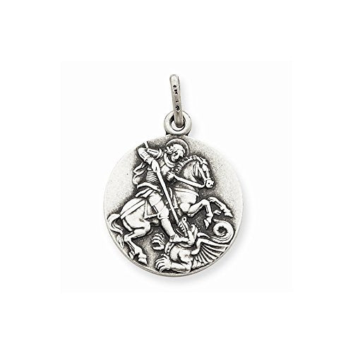 Sterling Silver Antiqued Saint George Medal, Best Quality Free Gift Box Satisfaction Guaranteed - shopvistar