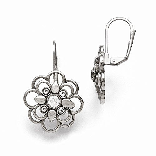 Stainless Steel Polished CZ Flower Leverback Earrings - shopvistar
