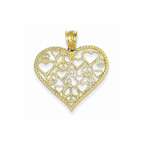 14k Heart W/peace Signs Pendant, Best Quality Free Gift Box Satisfaction Guaranteed - shopvistar