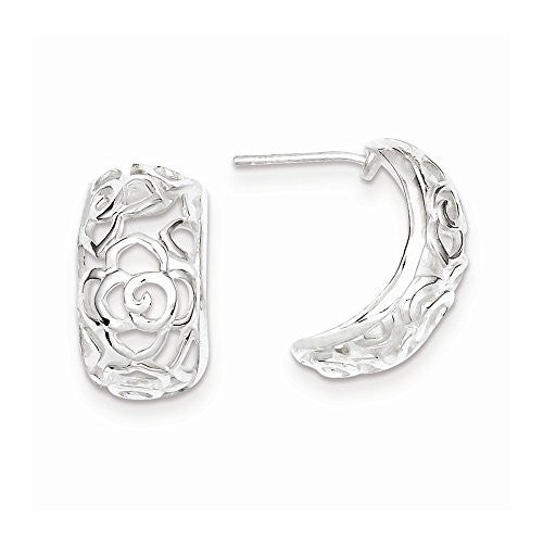 Sterling Silver Open Flower Design Post Earrings - shopvistar