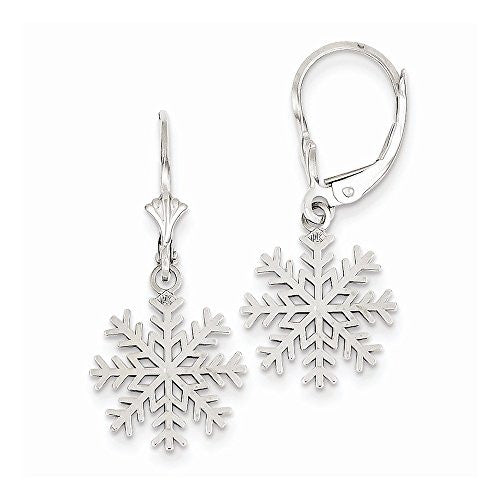 14k White Gold 3-d Snowflake Leverback Earrings, Best Quality Free Gift Box Satisfaction Guaranteed - shopvistar