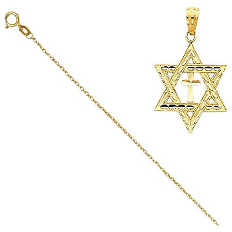 14k Diamond-Cut Star Of David W/Cross Pendant with 14k Chain, Length 16 - shopvistar