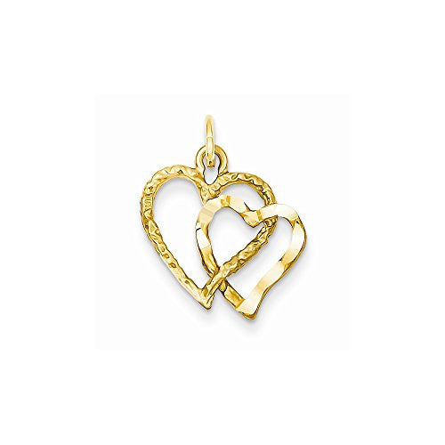 14k Double Heart Charm, Best Quality Free Gift Box Satisfaction Guaranteed - shopvistar
