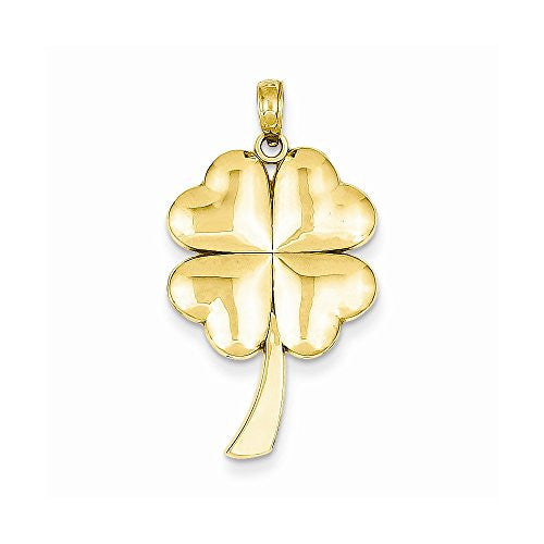 14k Solid Polished 4-leaf Clover Pendant, Best Quality Free Gift Box Satisfaction Guaranteed - shopvistar