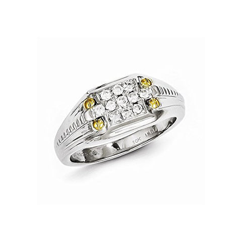 Sterling Silver With 10k Gold Diamond Men's Ring, Best Quality Free Gift Box Satisfaction Guaranteed - shopvistar