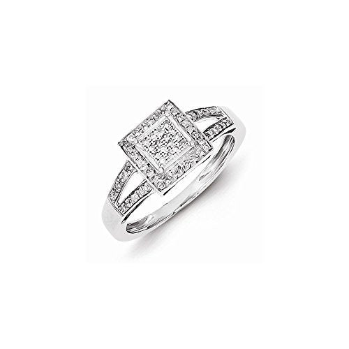 Sterling Silver Diamond Ring, Best Quality Free Gift Box Satisfaction Guaranteed - shopvistar