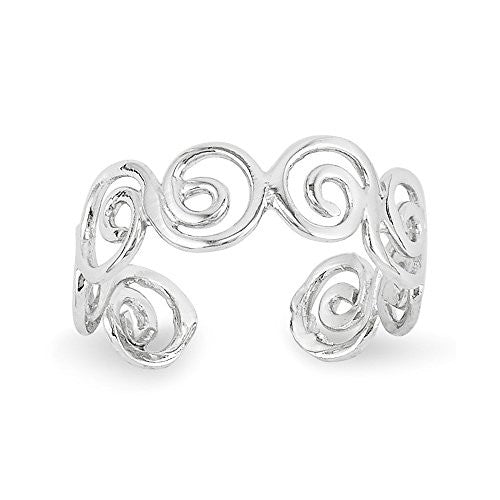 14k White Gold Swirl Toe Ring, Best Quality Free Gift Box Satisfaction Guaranteed - shopvistar