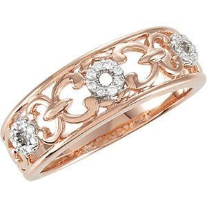 Sterling Silver 1/10 Ctw Diamond Heart Ring With Rose Gold Plating, Size: 7 - shopvistar