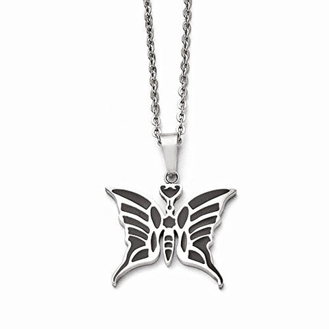 Stainless Steel Butterfly with Enamel 20in with ext Necklace - shopvistar