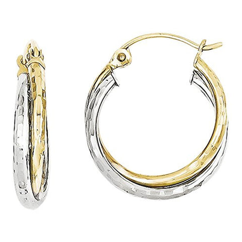 10k Yellow & White Gold Textured Twist Hoop Earrings, Best Quality Free Gift Box Satisfaction Guaranteed - shopvistar