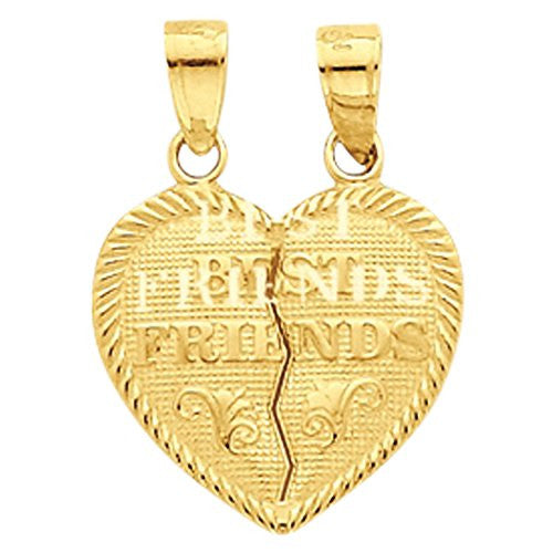 10k Best Friends Break-apart Heart Charm, Best Quality Free Gift Box Satisfaction Guaranteed - shopvistar