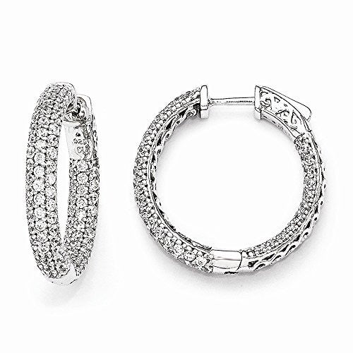 Sterling Silver Pave 1.0 inch Diameter CZ In and Out Hoop Earrings - shopvistar