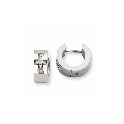 Cross Set of Stainless Steel Brushed Ring and Hoop Earrings - shopvistar