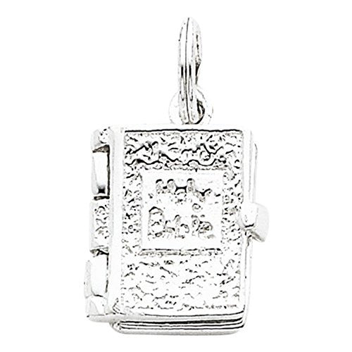 Sterling Silver Holy Bible Charm, Best Quality Free Gift Box Satisfaction Guaranteed - shopvistar