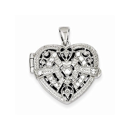 Sterling Silver Cz Design Heart Locket Pendant, Best Quality Free Gift Box Satisfaction Guaranteed - shopvistar