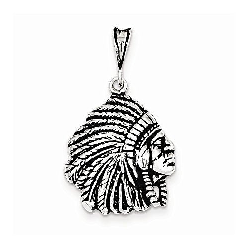 Sterling Silver Antiqued Indian Man Charm, Best Quality Free Gift Box Satisfaction Guaranteed - shopvistar