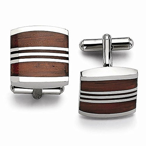 Stainless Steel Wood Cuff Links - shopvistar