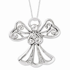 Sterling Silver Cz Angel Of Kindness 18in Angel Necklace, Best Quality Free Gift Box Satisfaction Guaranteed - shopvistar