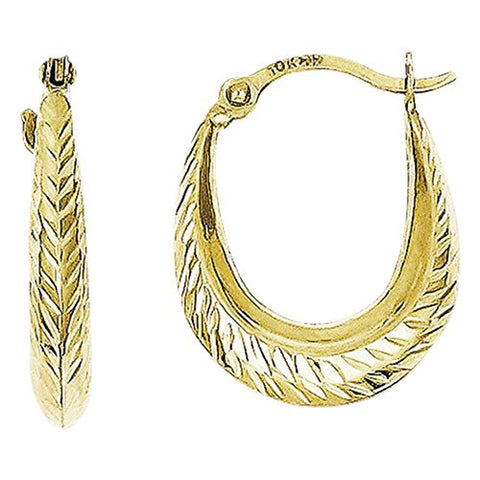 10k Textured Hollow Hoop Earrings, Best Quality Free Gift Box Satisfaction Guaranteed - shopvistar