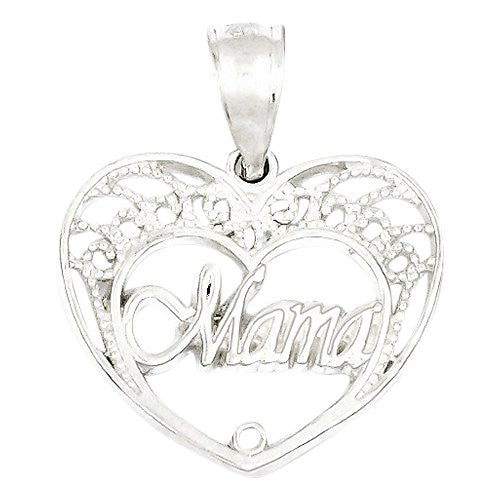 Sterling Silver Mama Heart Charm, Best Quality Free Gift Box Satisfaction Guaranteed - shopvistar
