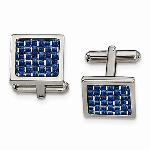 Stainless Steel Blue Carbon Fiber Cuff Links - shopvistar
