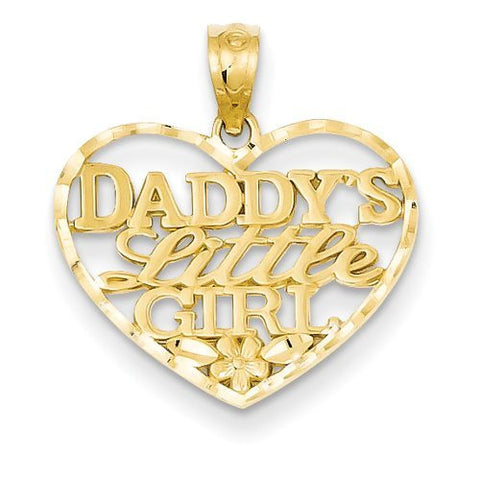 14k D/C Daddys Little Girl Heart Pendant with 14k Chain, Length 16 - shopvistar