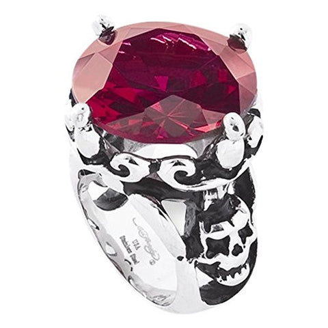 Stainless Steel Round Red Cz And Skull Ring by Ed Hardy Jewelry, Best Quality Free Gift Box Satisfaction Guaranteed - shopvistar