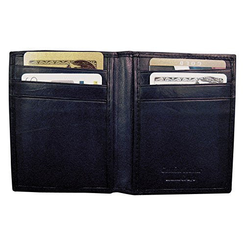 Black Leather Flip Feature Front Pocket Wallet - shopvistar