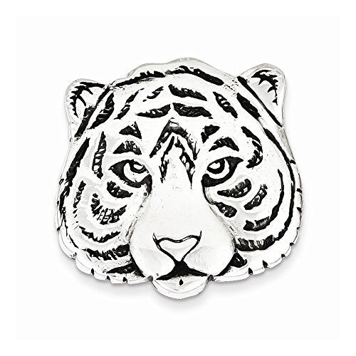 Sterling Silver Antiqued Tiger Face Pin, Best Quality Free Gift Box Satisfaction Guaranteed - shopvistar