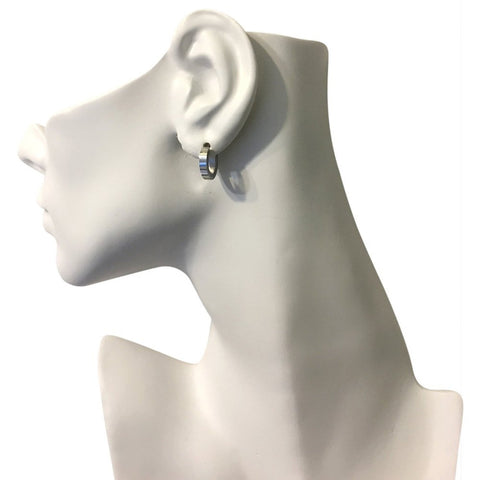 Beautiful Genuine Silver-tone Stainless Steel Huggies Earrings - shopvistar