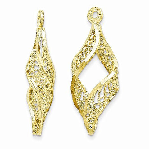 14k Polished Filigree Swirl Earring Jackets - shopvistar