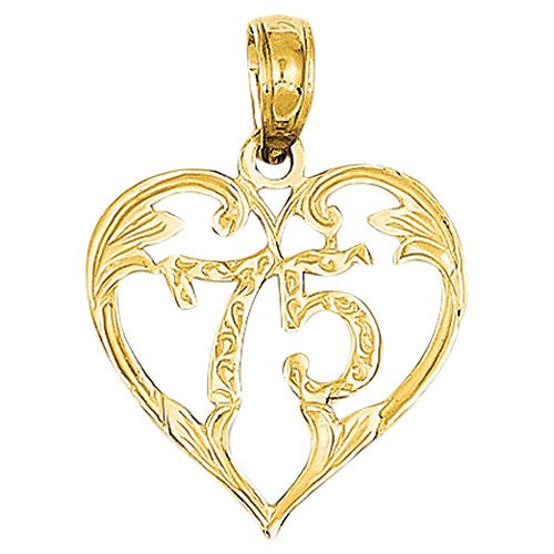 14k 75 Heart Pendant, Best Quality Free Gift Box Satisfaction Guaranteed - shopvistar