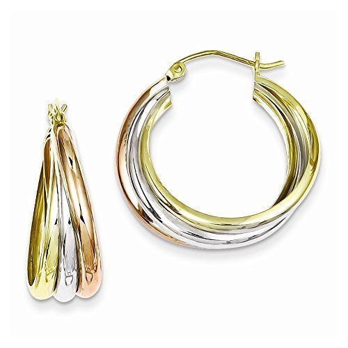 Sterling Silver & Yellow and Rose Vermeil Hoop Earrings - shopvistar