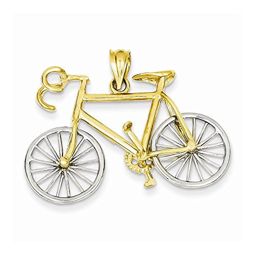 14k Large Two-tone 3-d Bicycle Pendant, Best Quality Free Gift Box Satisfaction Guaranteed - shopvistar