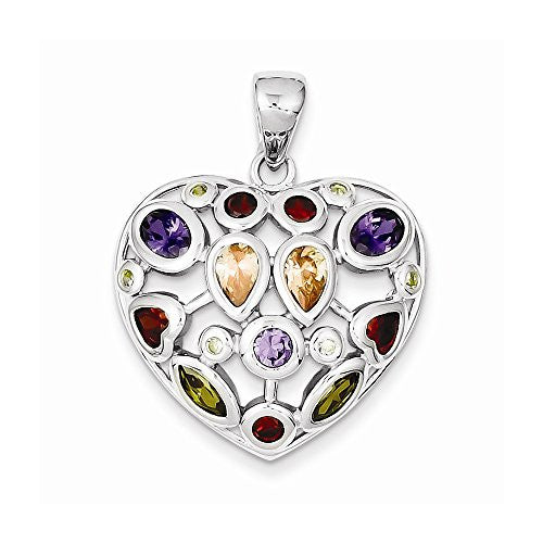 Sterling Silver Multi-colored Cz Heart Pendant, Best Quality Free Gift Box Satisfaction Guaranteed - shopvistar
