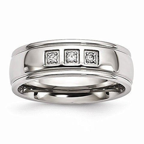 Stainless Steel Polished with CZ Ring - Size 7.5 - shopvistar
