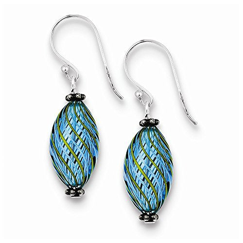 Sterling Silver Blue Blown Glass Antiqued Shepherd Hook Earrings - shopvistar