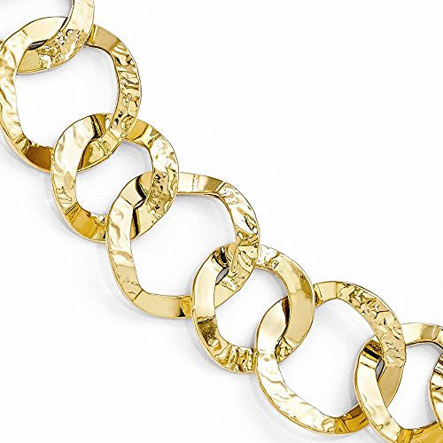 Leslie's 14K Yellow Gold Polished and Hammered Fancy Link Bracelet - shopvistar