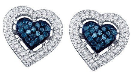 0.40ct Blue Diamond Heart Earrings - shopvistar