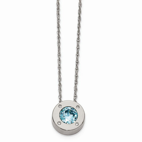 Stainless Steel CZ December Synthetic Birthstone Earrings and Necklace - shopvistar