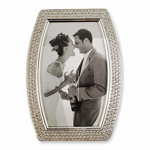 Silver-tone Swarovski Crystal 5x7 Photo Frame - shopvistar