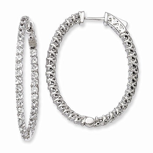 Sterling Silver Rhodium-plated CZ Hinged Oval Hoop Earrings - shopvistar