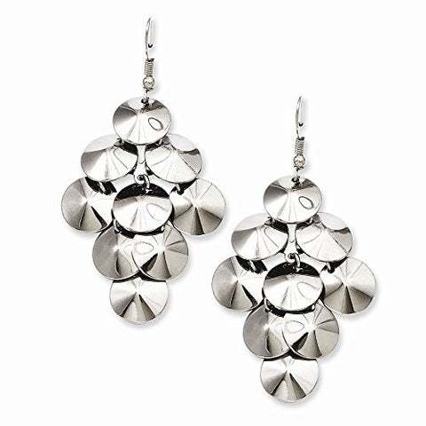 Stainless Steel Polished Circles Chandelier Style Dangle Earrings - shopvistar